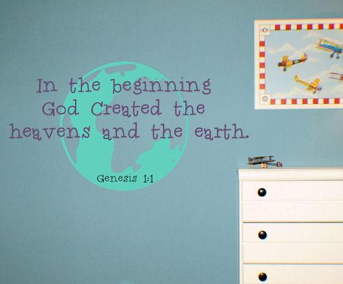 God Created Heaven Earth Wall Decals