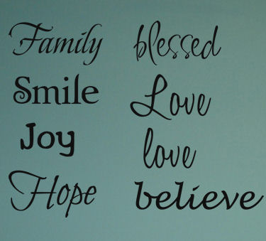 Inspirational Words Multi Fonts Wall Decals