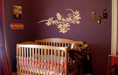 Butterfly and Flower Branch Wall Decal