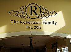 Wrought Iron Name Initial Est Year Wall Decal