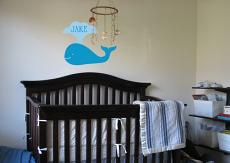 Baby Whale Name Wall Decal