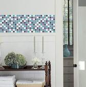 Blue Mosaic Vinyl Tile Sheets