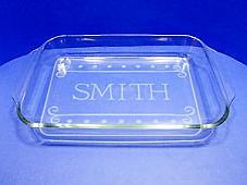 "Simple Monogram Stencil for 9"" x 13"" Glass Pan"