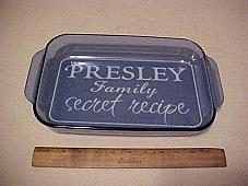 "Family Secret Monogram Stencil for 9"" x 13"" Glass Pan"