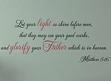 Let Your Light So Shine Wall Decal