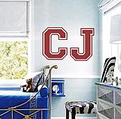 Jersey Letter Initials Wall Decal