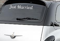 Just Married Script Car Decal