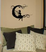Fairy Scroll Moon Wall Decal