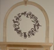 Dog Wreath Wall Decal