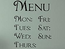 Days of Week Menu Labels Wall Decals