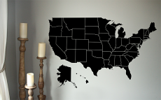 Large United States Map Wall Decal