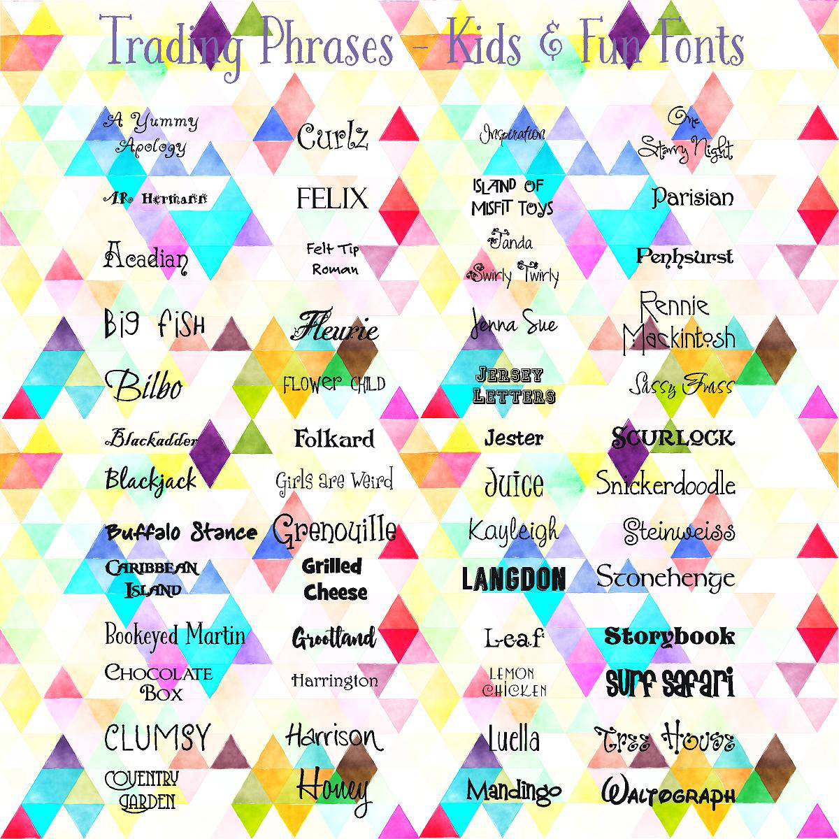 Trading Phrases Kids & Fun Fonts